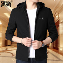 Jacket Cheng Peng Fashion City Black Lake Blue 165/M 170/L 175/XL 180/XXL 185/XXXL 190/XXXXL thin standard Other leisure spring YY3810 Polyester 100% Long sleeves Wear out Hood Youthful vigor youth routine Zipper placket Cloth hem No iron treatment Closing sleeve Solid color Plaid Spring 2020
