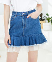 skirt Summer of 2019 S,M,L Black, white, denim blue Short skirt Sweet High waist A-line skirt Solid color 34DX629079 51% (inclusive) - 70% (inclusive) Denim Duoyi / flower cotton Lace
