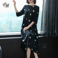 Dress Summer of 2019 M L XL 2XL 3XL 4XL longuette singleton  three quarter sleeve commute Crew neck High waist Dot Socket Big swing routine Others 35-39 years old Type A Simplicity Pocket print More than 95% silk Mulberry silk 100% Pure e-commerce (online only)