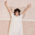 Nightdress Cotton shell White purple pink 160(M) 165(L) Sweet Short sleeve pajamas Middle-skirt spring Solid color youth V-neck cotton bow pure cotton Classic short sleeve nightdress Spring 2021 Cotton 100%