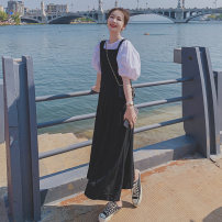 Dress Summer 2021 black and white S,M,L,XL Mid length dress Two piece set Short sleeve Crew neck High waist Solid color Socket puff sleeve 18-24 years old Other / other