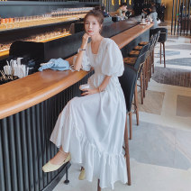 Dress Summer 2021 white S,M,L,XL Mid length dress singleton  Short sleeve square neck High waist Solid color Socket puff sleeve 18-24 years old Other / other