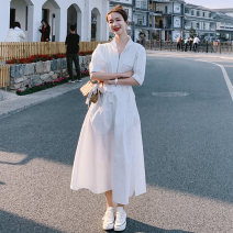 Dress Summer 2021 white S,M,L,XL Mid length dress singleton  Short sleeve stand collar High waist Solid color zipper routine 18-24 years old Other / other