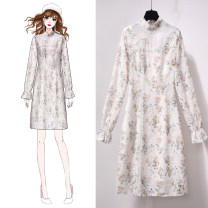 Dress Spring 2021 Broken flowers S M L XL Mid length dress singleton  Long sleeves commute stand collar High waist Broken flowers Socket A-line skirt pagoda sleeve Others 25-29 years old Type X Jack cat Korean version Embroidery printing More than 95% other other Other 100%