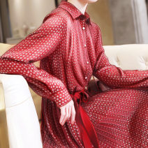 Women's large Autumn 2020 gules Large L Large XL s M Dress singleton  commute Socket Long sleeves Broken flowers Korean version Polo collar other shirt sleeve Jack cat 25-29 years old 96% and above Medium length Other 100% Pure e-commerce (online only)
