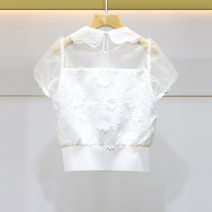 Lace / Chiffon Summer 2021 White, taro purple XL-10,L-8,M-6,S-4 Short sleeve Sweet Socket easy have cash less than that is registered in the accounts Doll Collar Solid color routine 18-24 years old EJWBBJ12 Lace