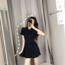 Dress Summer of 2019 Navy Blue S M L XL Middle-skirt singleton  Short sleeve commute Polo collar High waist Solid color Socket Pleated skirt routine Others 18-24 years old Yingzi instrument Korean version More than 95% other Other 100% Pure e-commerce (online only)