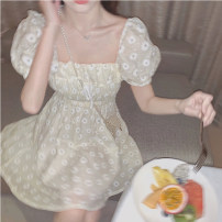 Women's large Summer 2020 Light yellow dress S M L XL singleton  commute Short sleeve Solid color Korean version square neck puff sleeve Yingzi instrument 18-24 years old 71% (inclusive) - 80% (inclusive) Middle-skirt Polyester 80% other 20% Exclusive payment of tmall