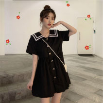 Dress Summer 2020 White black S M L XL Short skirt singleton  Short sleeve commute Doll Collar High waist Solid color Single breasted other routine Others 18-24 years old Type A Yingzi instrument Korean version bow MViyve More than 95% other Triacetate fiber (triacetate fiber) 100%