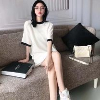 Women's large Summer 2021 white S M L XL Dress commute Short sleeve Yingzi instrument 18-24 years old Short skirt Other 100% Same model in shopping mall (sold online and offline)