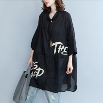 Women's large Summer of 2018 black Large XL Large XXL shirt singleton  commute easy thin Cardigan elbow sleeve other Korean version other Medium length cotton routine Han shika 25-29 years old Polyester fiber 60% cotton 35% polyurethane elastic fiber (spandex) 5% Pure e-commerce (online only)