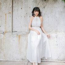 Dress Summer 2020 white S,M,L longuette singleton  Sleeveless Sweet High waist Solid color zipper A-line skirt 25-29 years old Type A More than 95% Chiffon polyester fiber Bohemia