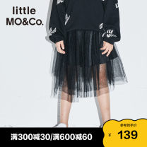 skirt 110/50 110/53 120/53 130/56 140/58 150/61 155/64 This is white and black Little MO&CO. female Polyamide fiber (nylon) 100% spring and autumn skirt Europe and America Solid color Irregular nylon Summer 2021