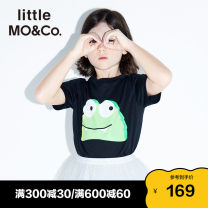 T-shirt This white silver lake blue cheese yellow black Little MO&CO. 110/52 110/56 120/56 130/60 140/64 150/68 155/72 neutral summer Short sleeve Crew neck Europe and America There are models in the real shooting nothing Pure cotton (100% cotton content) Cartoon animation Cotton 100% KBO1TEE027