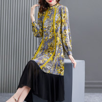 Dress Summer 2021 Mustard yellow S M L XL 2XL longuette Two piece set Long sleeves commute stand collar Loose waist Decor Socket A-line skirt shirt sleeve Others 40-49 years old HN & Mo / Han Mu Stitched lace print More than 95% other Other 100% Pure e-commerce (online only)