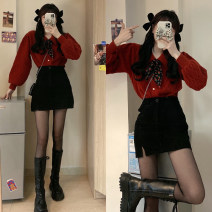 Fashion suit Winter 2020 S. M, l, average size Red sweater piece , Skirt piece 18-25 years old 30% and below