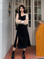 Dress Spring 2021 Long, short Average size Mid length dress singleton  Long sleeves commute square neck High waist Socket Irregular skirt puff sleeve 18-24 years old Type A Retro Splicing 30% and below other other