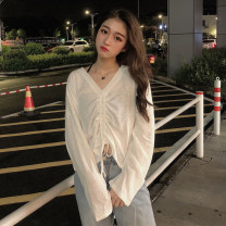 T-shirt White, jujube Average size Autumn of 2019 Long sleeves V-neck easy routine commute other 30% and below 18-24 years old Korean version youth Solid color Pleating