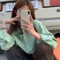 shirt Green, blue, white Average size Spring 2021 other 30% and below Long sleeves commute Medium length Polo collar Single row multi button routine Solid color 18-24 years old Korean version Button