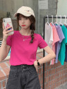 T-shirt White, pink, black, gray, khaki, green, rose, lavender, haze blue Average size Summer 2021 Short sleeve Crew neck Self cultivation have cash less than that is registered in the accounts routine commute cotton 96% and above 18-24 years old Korean version youth Solid color