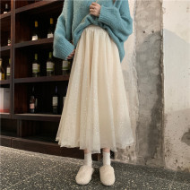skirt Spring 2021 Average size Apricot, black Mid length dress commute High waist A-line skirt Type A 18-24 years old 30% and below other Sequins Korean version