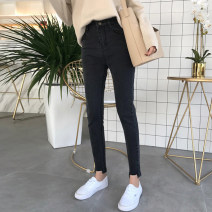 Jeans Spring of 2019 Black, blue S,M,L Ninth pants High waist Pencil pants routine 18-24 years old Dark color