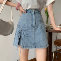 skirt Spring 2021 S,M,L wathet Short skirt commute High waist Irregular Solid color Type A 18-24 years old 30% and below other Korean version