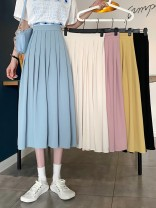 skirt Summer 2021 S,M,L Yellow, blue, black, white, pink Mid length dress commute High waist Pleated skirt Solid color Type A 18-24 years old 30% and below other other Korean version