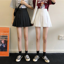 skirt Spring 2021 S,M,L Black, white Short skirt commute High waist Pleated skirt Solid color Type A 18-24 years old 30% and below Korean version