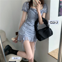 Dress Spring 2021 Dress S, M Short skirt singleton  Short sleeve commute square neck High waist Solid color Socket A-line skirt puff sleeve 18-24 years old Type A Korean version fold 30% and below other