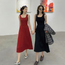 Dress Spring 2021 Black, red M, L Mid length dress singleton  Sleeveless commute square neck High waist Solid color Socket Pleated skirt other Others 18-24 years old Type A Korean version 30% and below other other