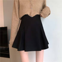 skirt Winter 2020 S,M,L black Short skirt commute High waist A-line skirt Solid color Type A 18-24 years old 30% and below other other zipper Korean version