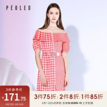 Dress Summer 2020 lattice 34/XS/155,36/S/160,38/M/165,40/L/170,42/XL/175 Mid length dress singleton  Short sleeve One word collar Loose waist lattice Single breasted other routine 25-29 years old Type H Peoleo / piaoyei Button More than 95% other polyester fiber