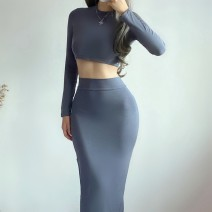 skirt Autumn 2020 S,M,L Black, khaki, dark grey, light blue, army green longuette street High waist skirt Europe and America