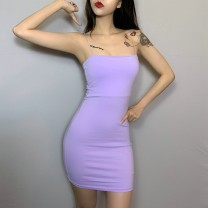 Dress Summer of 2019 Black, white, purple, pink S,M,L Short skirt singleton  High waist camisole cotton