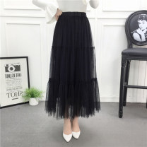 skirt Spring of 2018 Average size Black grey apricot Khaki longuette Versatile High waist Cake skirt Solid color Type A More than 95% Hooyiu / Huoyu polyester fiber Polyester 100% Pure e-commerce (online only)