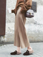 Casual pants The caramel color card is black and off white XS S M L XL 2XL Winter 2017 Ninth pants Wide leg pants High waist commute thickening 18-24 years old Yan Xin Li Lan Korean version