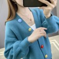 Wool knitwear Autumn 2020 S M L XL Beige blue pink Long sleeves singleton  Cardigan other More than 95% Regular routine commute easy V-neck routine Solid color Single breasted Korean version YZM80614 35-39 years old Beautiful appearance Pocket panel button Other 100% Pure e-commerce (online only)