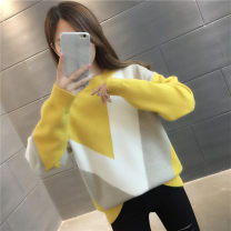 Wool knitwear Autumn 2020 S M L XL Black yellow green brick red pink Long sleeves singleton  Socket other More than 95% Regular routine commute easy Low crew neck routine stripe Socket Korean version YZM901412 30-34 years old Beautiful appearance Printed stitching thread Other 100%