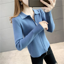 Wool knitwear Autumn 2020 S M L XL White blue purple dark red black Long sleeves singleton  Cardigan other More than 95% Regular routine commute easy square neck routine Solid color zipper Korean version YZM80716 25-29 years old Beautiful appearance Splicing thread zipper Other 100%