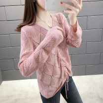 Wool knitwear Spring 2020 S M L XL Pink beige blue Khaki Long sleeves singleton  Socket other More than 95% Regular routine commute easy Low crew neck routine Solid color Socket Korean version YZM S201313 25-29 years old Beautiful appearance Lacing splice thread Other 100%
