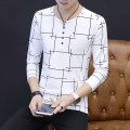 T-shirt JAWE8311 Cotton 95.6% polyurethane elastic fiber (spandex) 4.4% Fall 2018 Pure e-commerce (online sales only) teenagers routine like a breath of fresh air routine Long sleeve daily Self cultivation Youth fashion V-neck Jue AI autumn Geometric pattern Creative interest Inlay / stick