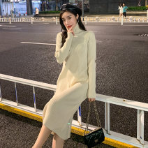 Dress Winter of 2019 Black apricot S M L XL longuette singleton  Long sleeves commute High collar High waist Solid color Socket A-line skirt routine 18-24 years old Type A Annie Korean version thread K2019258 More than 95% knitting other Other 100% Pure e-commerce (online only)