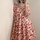 Women's large Spring 2021 Picture color S M L XL singleton  commute easy Long sleeves Dot Korean version square neck Medium length routine 258# Soaino 18-24 years old longuette Other 100% Princess Dress
