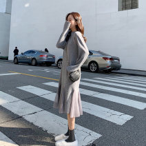 Dress Winter of 2019 Black gray brown S M L XL longuette singleton  Long sleeves commute Crew neck High waist routine 18-24 years old Type A Soaino Korean version More than 95% other Other 100% Pure e-commerce (online only)