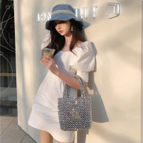 Dress Summer 2020 white S M L XL Middle-skirt other Short sleeve commute square neck High waist Solid color Socket A-line skirt routine Others 18-24 years old Soaino Korean version 71% (inclusive) - 80% (inclusive) other polyester fiber Polyester 80% other 20% Exclusive payment of tmall