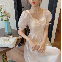 Women's large Summer 2021 Apricot S M L XL singleton  commute Self cultivation Short sleeve Solid color Retro square neck Medium length puff sleeve Soaino longuette Other 100% Pure e-commerce (online only) Princess Dress