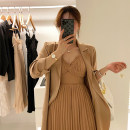 Dress Spring 2021 Champagne coat + champagne dress S M L XL longuette Two piece set Long sleeves commute tailored collar High waist Solid color Single breasted Pleated skirt routine Others 18-24 years old Type A Chu Mu Korean version C8N2359_ 71% (inclusive) - 80% (inclusive) polyester fiber