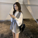 Dress Autumn 2020 Grey Vest + white shirt S M L XL Short skirt Two piece set Long sleeves commute Polo collar Loose waist Solid color Single breasted A-line skirt shirt sleeve Others 18-24 years old Type A Chu Mu Korean version C8N1746 71% (inclusive) - 80% (inclusive) polyester fiber
