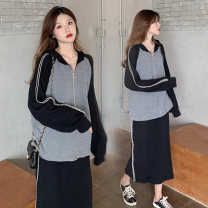 Sweater / sweater Spring 2021 Top + skirt M. L, XL, 2XL, 3XL, 4XL, to ensure that the real object is consistent with the picture Long sleeves routine Cardigan Upper and lower sleeve routine Hood easy commute raglan sleeve Solid color 18-24 years old 30% and below Other / other Korean version cotton